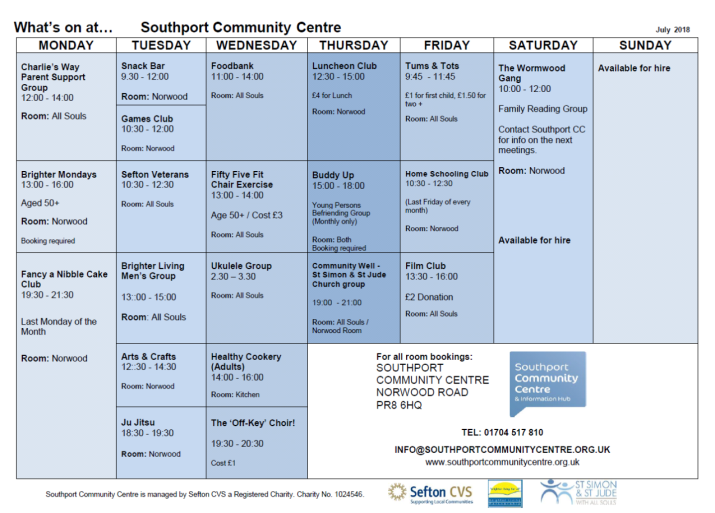 Southport Community Centre - Weekly Schedule - July 2018